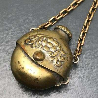Antique Victorian Signed Gold Gilt Brass  Lime Tobacco chatelaine Charm Pendant