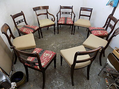 harlequin set,nine,antique,georgian,dining chairs,padded seats,chairs,carvers