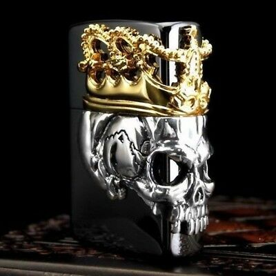Zippo Skull King Black & Gold Collectible Beautiful lighter Japan F/S Tracking