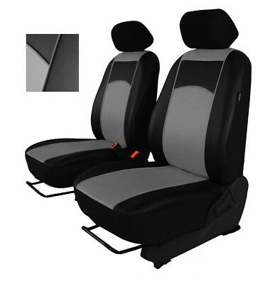 Grey Eco-Leather Universal Front Seat Covers fit NISSAN NAVARA D40 2004 - 2015