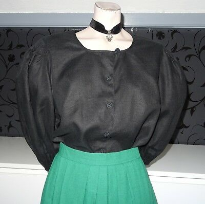 German Bavarian Puffy Sleeved Black Dirndl Blouse 12-14