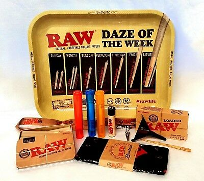 "Daze of Week TRAY Large 13""X11"" 20 CONES 1 1/4 BUNDLE RAW LOADER TIN BANDANA"
