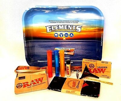 "Elements Large TRAY 13""X11"" 1 1/4 20 CONES BUNDLE RAW LOADER TIN BANDANA"