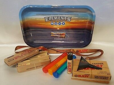 "Elements Tray 7""x11"" LEAN CONES BUNDLE RAW LOADER TIN 20 CONES LANYARD & More"