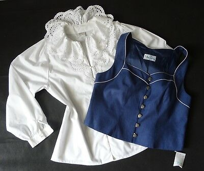 German Bavarian Blue Dirndl Bodice + Blouse 14
