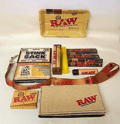 Bundle Raw Black Rolling Papers King Size Slim Small Tray Roller Stink Sack More