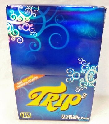 Full Box 1 1/4 Trip 2 Clear Cellulose Transparent Cigarette Rolling Papers