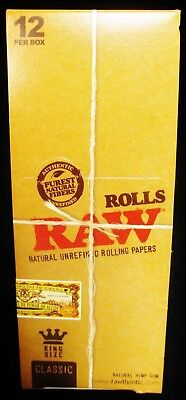 Full Box 12 Raw Classic King Size Natural Unrefined 3 Meter Rolls Rolling Papers