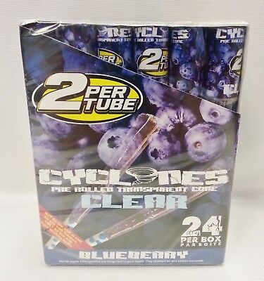 Full Box 24 Cyclones Blueberry Flavored Pre Rolled Cones Clear Non Tobacco Cone