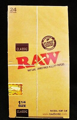 Full Box 24 Packs Raw Classic 1 1/4 Natural Unrefined Rolling Papers Free Ship