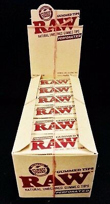 Full Box 24 Packs Raw Rolling Paper Unrefined Natural Perforated Gummed Tips