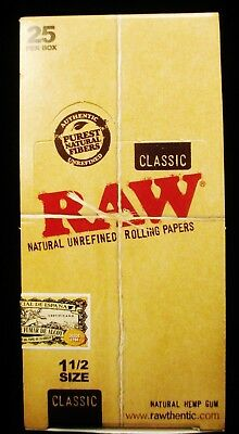 Full Box 25 Packs Raw Classic 1 1/2 Natural Unrefined Cigarette Rolling Papers