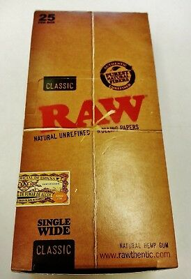 Full Box 25 Packs Raw Natural Unrefined Single Wide Cigarette Rolling Papers