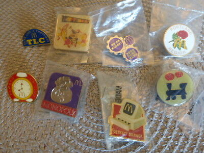 Lot Set Of McDonalds Group Lapel / Hat / Shirt Pins, Some New, Happy Birthday