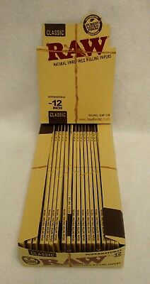 """Full Box of 20 RAW CLASSIC FOOT LONG 12""""  UNBLEACHED Cigarette Rolling Papers"""