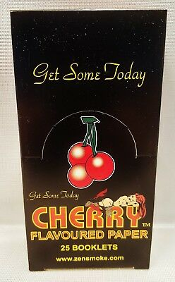 Full Box of 25 Packs Cherry Flavored Gummed Cigarette Rolling Papers 33 Per Pack