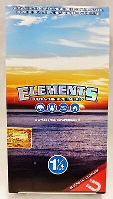 Full Box of 25 Packs Elements Ultra Thin Rice 1 1/4 Cigarette Rolling Papers