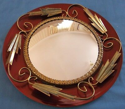 Vintage Ruby Red Convex Fish Eye Brass Metal Decoration Round Wall Mirror