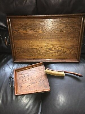Antique Vintage Old Wooden Butlers Servants Tray, Also Wooden Dustpan And Brush
