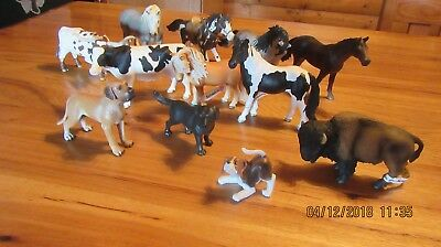 Toy German Schleich Model  6 Horses, 2 Cows, 3 Dogs, 1 Buffalo Large Group