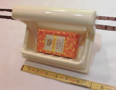 "Vintage *Lite Brown-Beige* Ceramic Recessed Soap Dish with Grab Bar, 5"" X 7"" NOS"