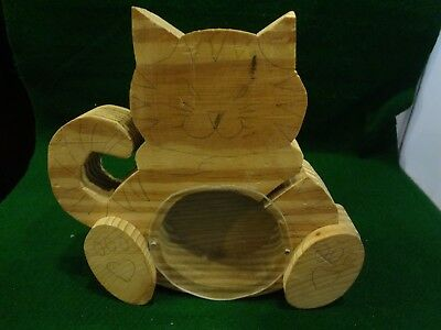 "Folk Art Cat Bank Wooden Handmade - Needs to be painted - 7"" H x 7.25"" x 1.25"""