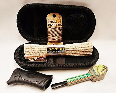 Handcrafted Wooden Pipe Bundle Case Cleaners Screens Wick Toker Poker Look
