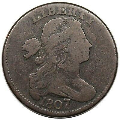 1807/6 Draped Bust Large Cent, large overdate, S-273, nice VG+