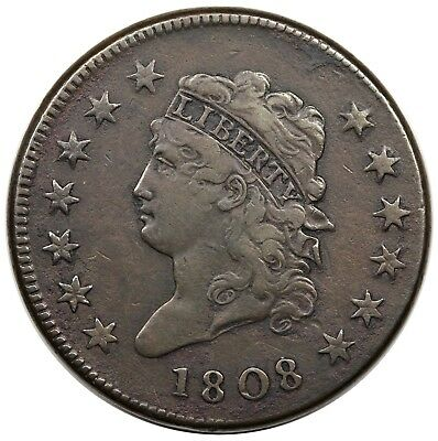 1808 Classic Head Large Cent, S-279, VF+ detail