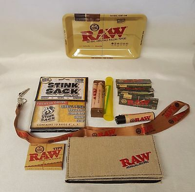 Large Bundle Raw Black Rolling Papers 1 1/4 Small Tray Roller Stink Sack & More