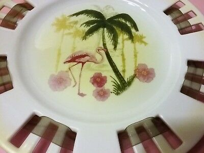 Set of 2 Collectible Flamingo Plates Tropical Scene Pierced Edge with Ribbon