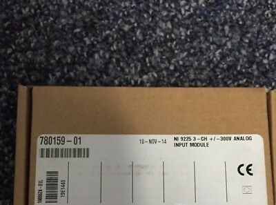 NI 9225 3-Channel +/- 300Vrms Analog C-Series Input Module -New -Sealed