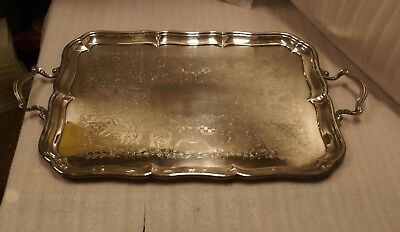 "Large 27"" Birks Regency Silver Plate Etched Serving Tray"