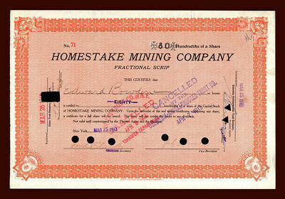 1913 Homestake Gold Mining Company FRACTIONAL SCRIP Stock - Lead South Dakota