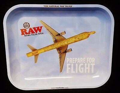 """New Large Raw Prepare For Flight Airplane Rolling Papers Tray 13""""x11"""" Metal Tray"""