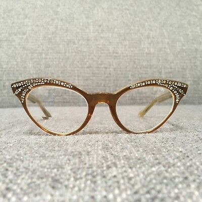 True Vintage 50s 60s Womens Cat Eye Rx Eyeglasses Frames Rhinestones Brown