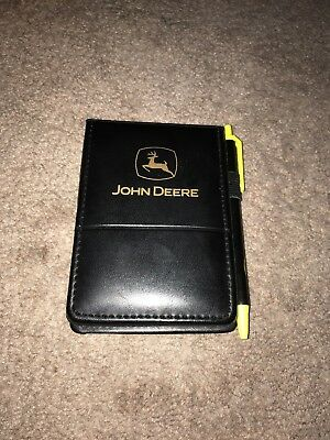 John Deere Black Leather Flip Notebook With Attached Pen