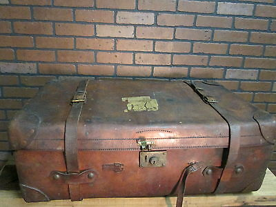 """Antique Signed BROOKS BROTHERS Leather Trunk Suitcase Luggage 35"""" X 20"""" X 13"""""""