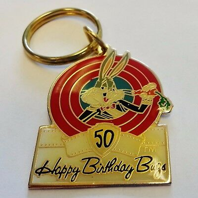 NOS Warner Bros. Bugs Bunny 50th Birthday Key Chain What's Up Doc Free Shipping