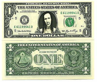 MARILYN MANSON VRAI BILLET 1 DOLLAR US ! Collection Gothic Metal punk hard rock