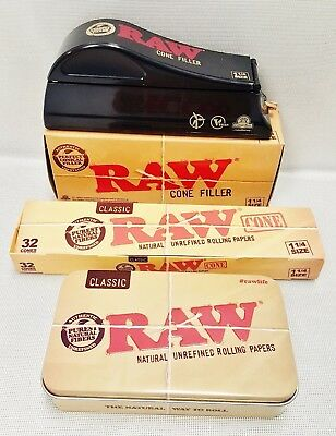 RAW 1 1/4 Size Cone Filler Loader Machine, 32 Count Box of Cones, & Storage Tin
