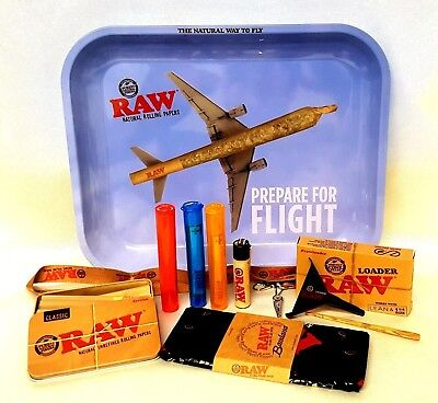 Raw Airplane Flight TRAY 13X11 20 CONES 1 1/4 BUNDLE RAW LOADER TIN BANDANA