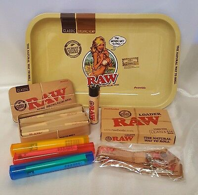 Raw Girl Tray 1 1/4 Lean Cones Bundle Raw Loader, Tin, 20 Cones, Lanyard, & More