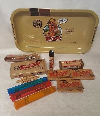RAW GIRL TRAY 3 Pks Classic Single Wide Rolling Papers Pre Rolled Tips (BUNDLE)