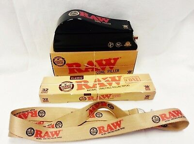 RAW King Size Cone Filler Loader Shooter, 32 Pack of Cones & Lanyard Free Ship