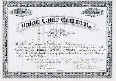 Union Cattle Company Stock Certificate, Wyoming Territory- 1888
