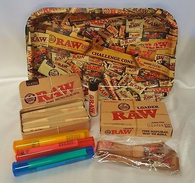 RAW MIX 13x11 Large TRAY 1 1/4 LEAN CONES BUNDLE RAW LOADER TIN 20 CONES Bandana