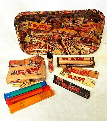 RAW MIX 13x11 Large TRAY King Size 3 Pks Sampler Rolling Papers Pre Rolled Tips