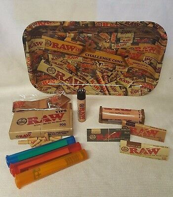 RAW MIX TRAY 1 1/4 3 Packs Sampler Rolling Papers Pre Rolled Tips LANYARD & MORE