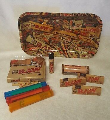 RAW MIX TRAY 1 1/4 3 Pks Classic Rolling Papers, Pre Rolled Tips LANYARD & MORE